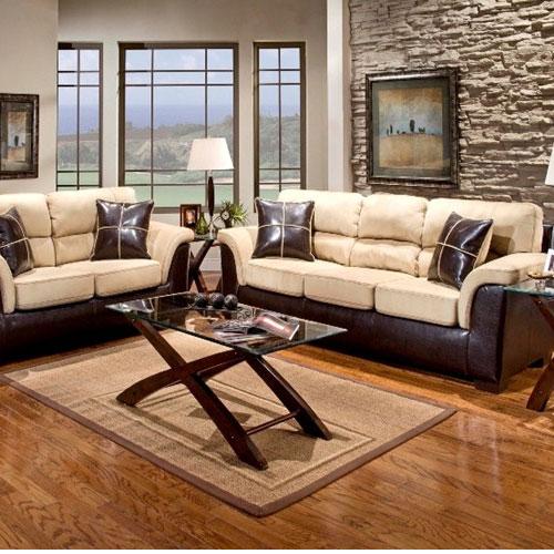 Laredo Sofa And Loveseat: Living Room Set, Laredo Mocha